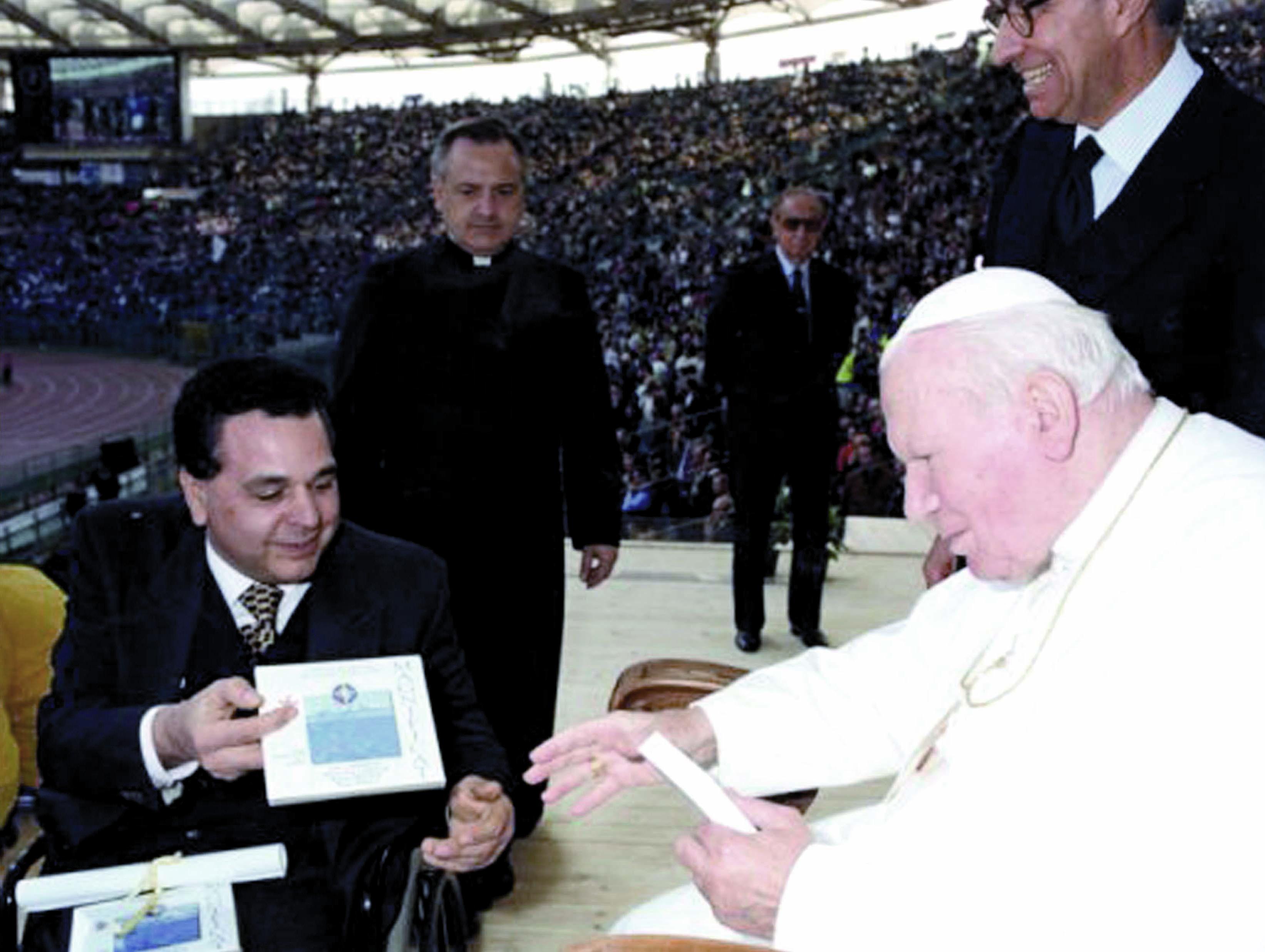 Il Presidente Giuseppe Trieste insieme a Papa Giovanni Paolo II